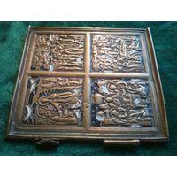 Икона створка от складня старая, бронза, латунь, эмаль 10.5 * 10 см.