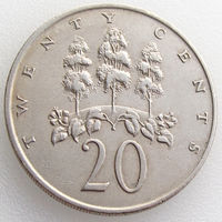 Ямайка, 20 центов 1969 года, растения, KM#48
