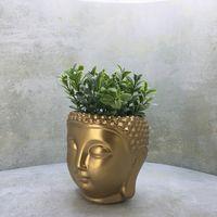 Цветочный горшок, кашпо, органайзер голова Будды ручной работы
