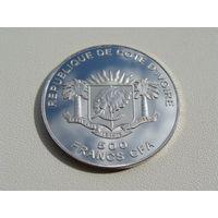 "Кот-д'Ивуар. 500 франков 2008 год ""Тадж Махал"""