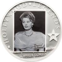 "Острова Кука 5 долларов 2011г. ""Легенды Голливуда: Софи Лорен"".  Монета в капсуле; сертификат. СЕРЕБРО 25гр."