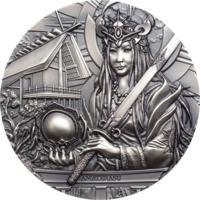 """RARE Острова Кука 20 долларов 2021г. """"Аматэрасу: Богиня солнца и вселенной"""". Монета в капсуле, подарочном футляре; номерной сертификат; коробка. СЕРЕБРО 93,30гр.(3 oz)."""