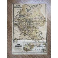 Карта железных дорог Российской империи / Гродно, Вильна, Барановичи, Минск, Витебск, Могилев, Гомель / 43 х 29 см / до 1917  года