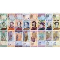 Венесуэла НАБОР БОЛИВАРОВ 2018 год (2, 5, 10, 20, 50, 100, 200, 500 боливаров).Цена за 8 шт. UNC