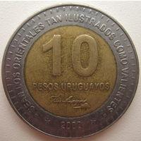 Уругвай 10 песо 2000 г. (d)
