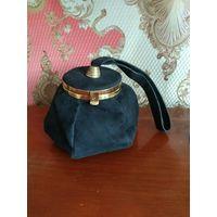 Антикварная,времён Наполеона lll французская дамская сумочка  кожа натуральная.