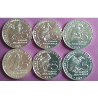 Бурунди 5 франков 2014, набор 6 монет.