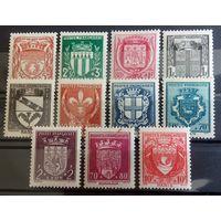 Франция фонд помощи геральдика 1941 Sc#B117-126  Cv30+$