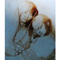 """Картина-вариация на тему*(Но не есть сама копия этой картины): картины Дюрера """"Мадонна с младенцем и святой Анной"""" 1998г. Художник Кирилл Мельник."""