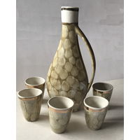 Набор кувшин и 5 рюмочек (керамика)
