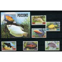 Бенин 1999г, аквариумные рыбки, 6м. 1 блок
