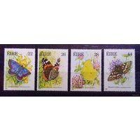Бабочки, Ирландия, 1985 год, 4 марки (полный комплект) ** Фауна