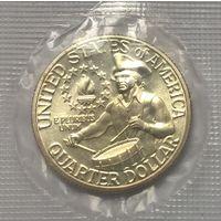 25 центов 1976 год в запайке серебро.