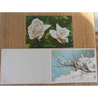 Вьетнамские открытки. 1960-70гг. Белые розы, голуби