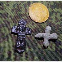 Оригинальный тельный килевидный крест. XV - XVI. и крестик Киевской Руси