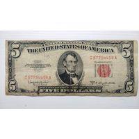 США 5 $ красная печать 1953 С