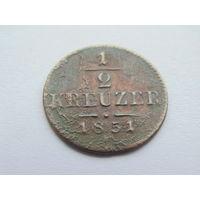 1/2 крейцера 1851г.  Австрия.
