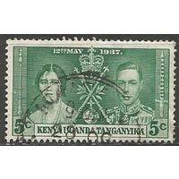 Кения Уганда и Танганьика. Король Георг VI и королева Елизавета. 1937г. Mi#49.