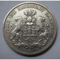 Германия, Гамбург, 5 марок, 1876, серебро