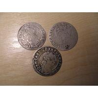 6 грошей 1666 год/ 1665/1662. 3 шт.