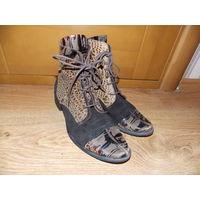 Полусапожки (ботинки) женские, красивые, кожа, замш, р-р 38