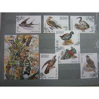 Марки - фауна, Мадагаскар, птицы, блок и 7 марок