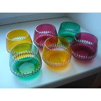 Набор стаканов (бокалов) цветного хрусталя - 6 штук в идеальном состоянии. Германия.