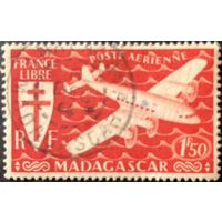 Мадагаскар. 1943 год. Авиапочта 1,5 фр. Гашеная