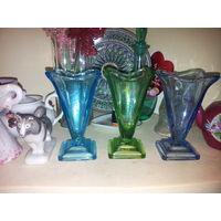 Неман цветное стекло, вазы 3 разных цвета