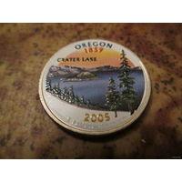 25 центов, цветной квотер США, штат Орегон