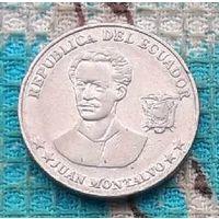 Эквадор 5 центавос 1990 года. АU.