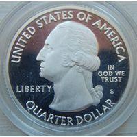 """14. США, 1/4 доллара. """"Прекрасная Америка"""" -- """"Национальный парк Акадия"""". серебро, пруф."""