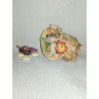 Лягушонок Черепаха ракушки сувенир фигурка статуэтка одним лотом