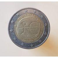 2 евро Словакия 2009 10 лет Экономическому и Валютному союзу