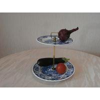 Ваза для фруктов, орехов, конфет и проч. фарфор + латунь Royal Tudor Ware Staffordshire England.