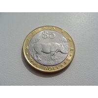 """Зимбабве. 5 долларов 2002 год.  """"Носорог""""  КМ#13"""