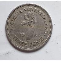 Родезия и Ньясаленд 3 пенса, 1964 4-11-33
