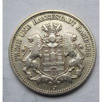 Германия, Гамбург, 2 марки, 1908, серебро