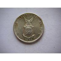 Филиппины администрация США, 20 центавос 1944 г. 3-ой тип, серебро