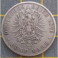 Монета Германская империя 5 марок, 1876