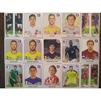 "45 разных наклеек из коллекции ""Panini. EURO 2016""."