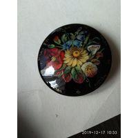 Круглая женская брошь с цветочным рисунком ручная работа Жостово Россия.