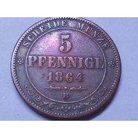 Саксония 5 пфеннигов 1864 В.Аукцион с 1.00 руб.