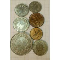 Швейцария 1, 2, 5, 10, 20 раппен, 1/2, 2 франка, набор из 7 обиходных монет