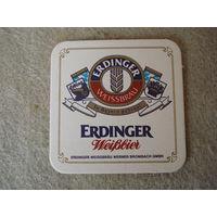 """Подставка под пиво (бирдекель) """"ERDINGER"""" (Германия).(1)."""