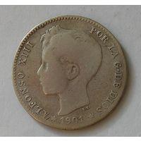 Испания 1 Песета 1901 Серебро (103)