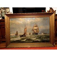 Живопись 19 век подписная огромная холст масло море корабли