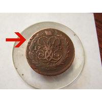 """Две копейки 1757 год.Перечекан с """"облачной """"копейки  ММД.С рубля."""