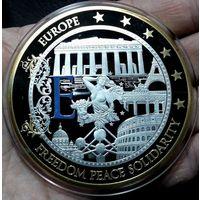 ЕВРОПА медаль, серебрение+позолота, 70 мм.