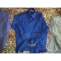 Рубашка детская синяя БЕСПЛАТНО ВТОРОЙ товар (одежда-обувь)  на выбор!